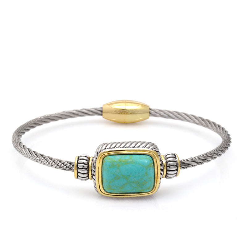 Two Tone Rectangle Turquoise Twisted Rope Magnetic Clasp Bracelet