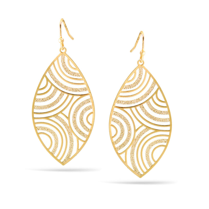 Matte And Shiny Gold Marquise Drop Earrings