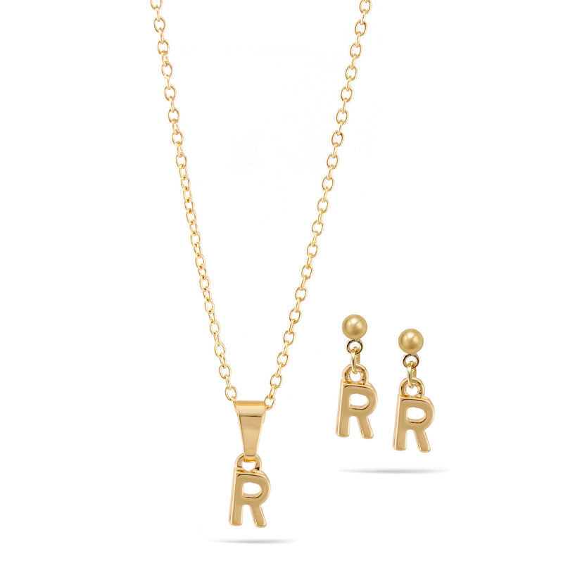 "Gold ""R"" Small Pendant Adjustable Length Chain Short Necklace And Earrings Set"