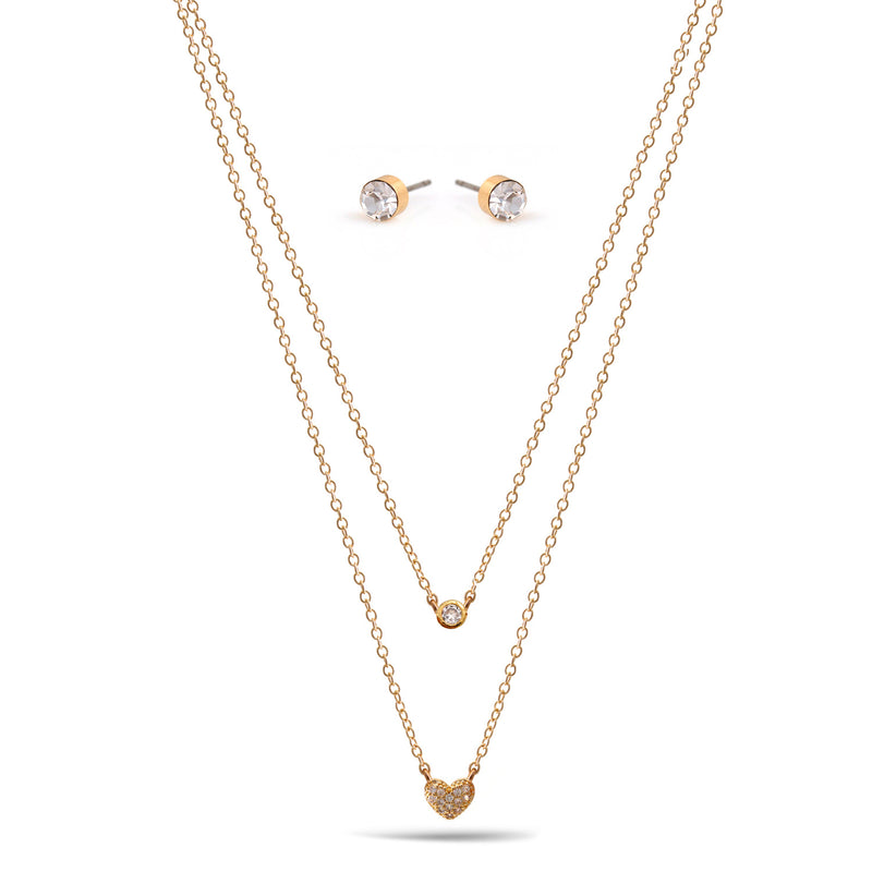 Gold Crystal Heart Small Pendant Adjustable Length Chain Layer Necklace And Crystal Earrings Set