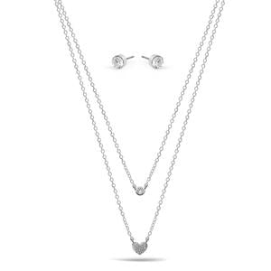 SMALL HEART PENDANT CRYSTAL  NECKLACE AND EARRINGS SET