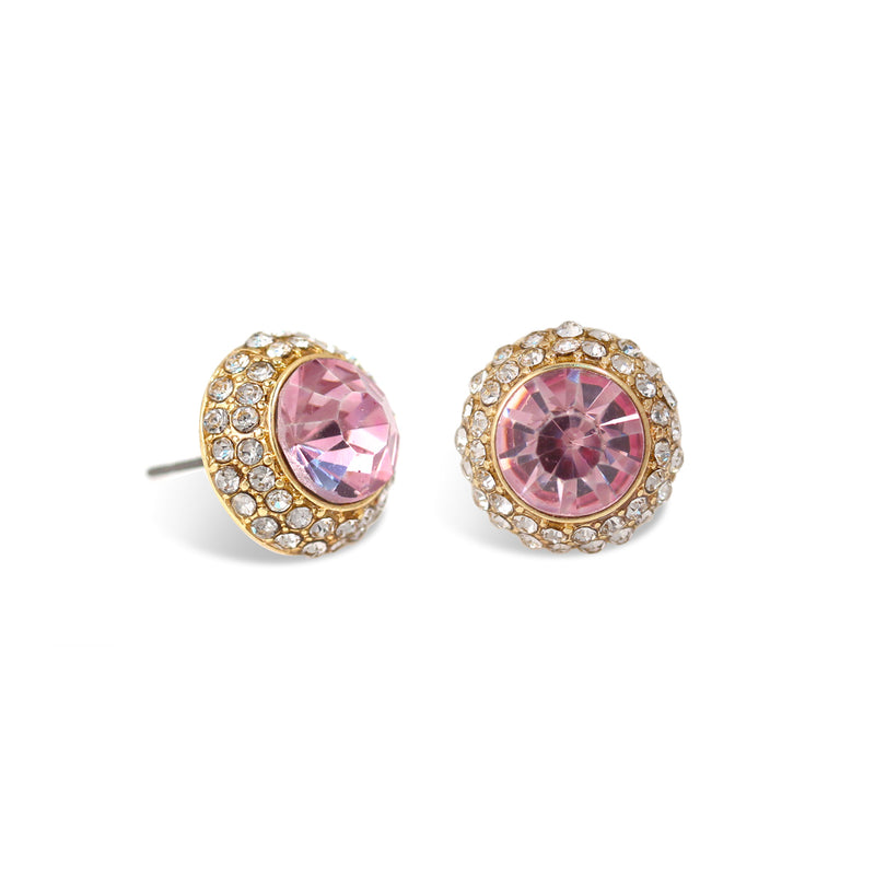 Pink Round Crystal Rhinestone Gold Post Earrings