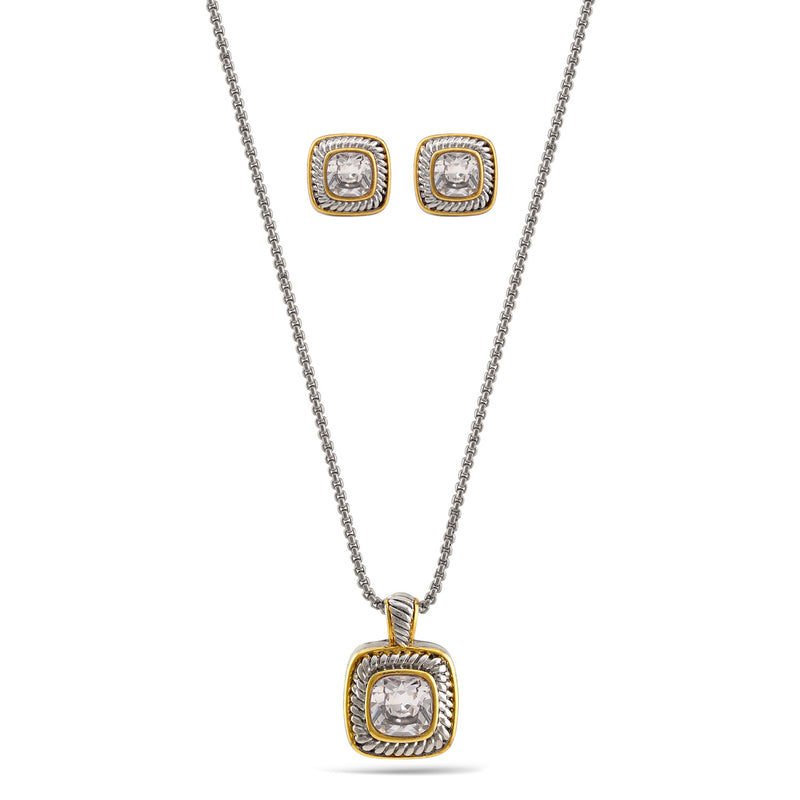 "Two Tone White Crystal  0.8"" Inch Square Pendant Adjustable Length Chain Necklace And Earrings Set"