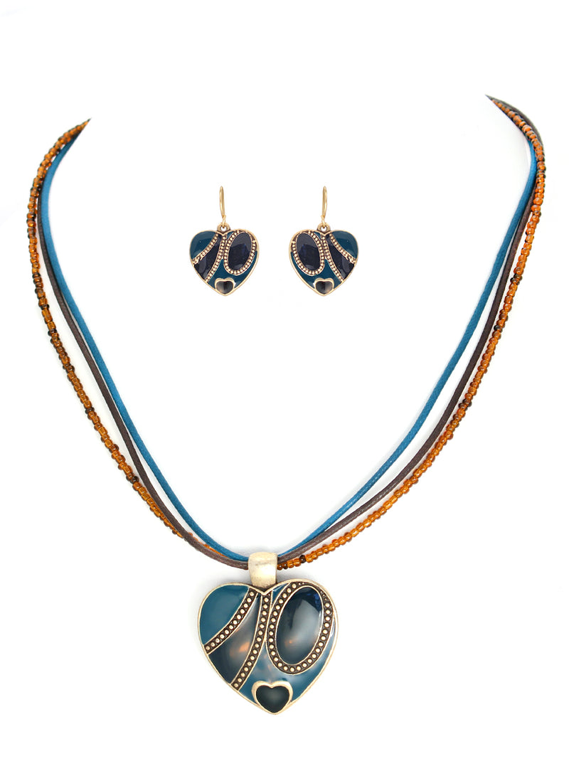 Turquoise and brown heart necklace and earring set