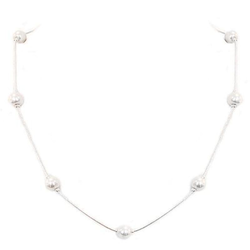 White Glass Pearl Bead Silver Necklace