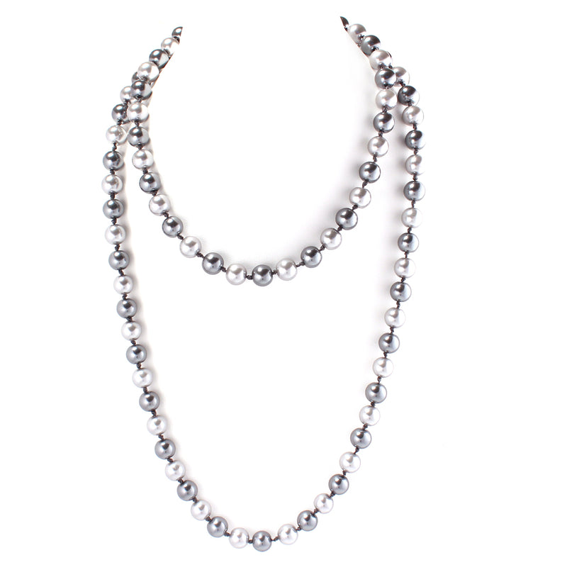 Gray Bead Pearl Long Necklace