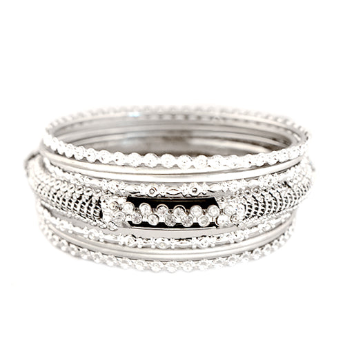 Black and Silver Bangles with Rhinestone Set of 9pcs