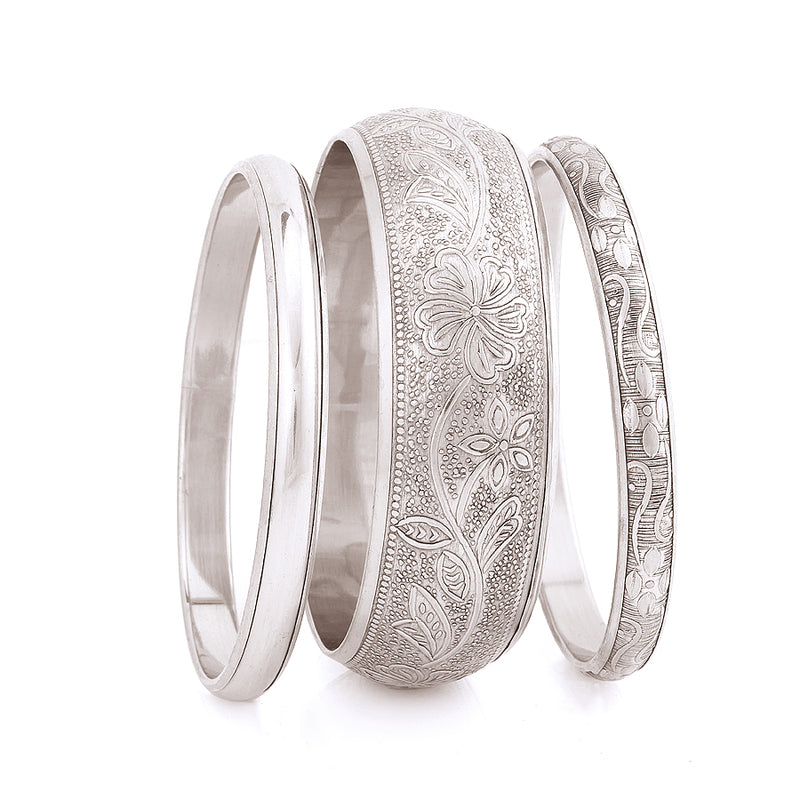 Silver Plated Three Piece Bangles