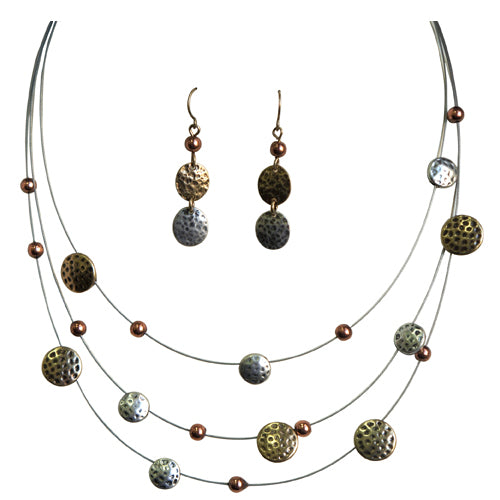 Gold and silver mini hammered illusion necklace and earring set