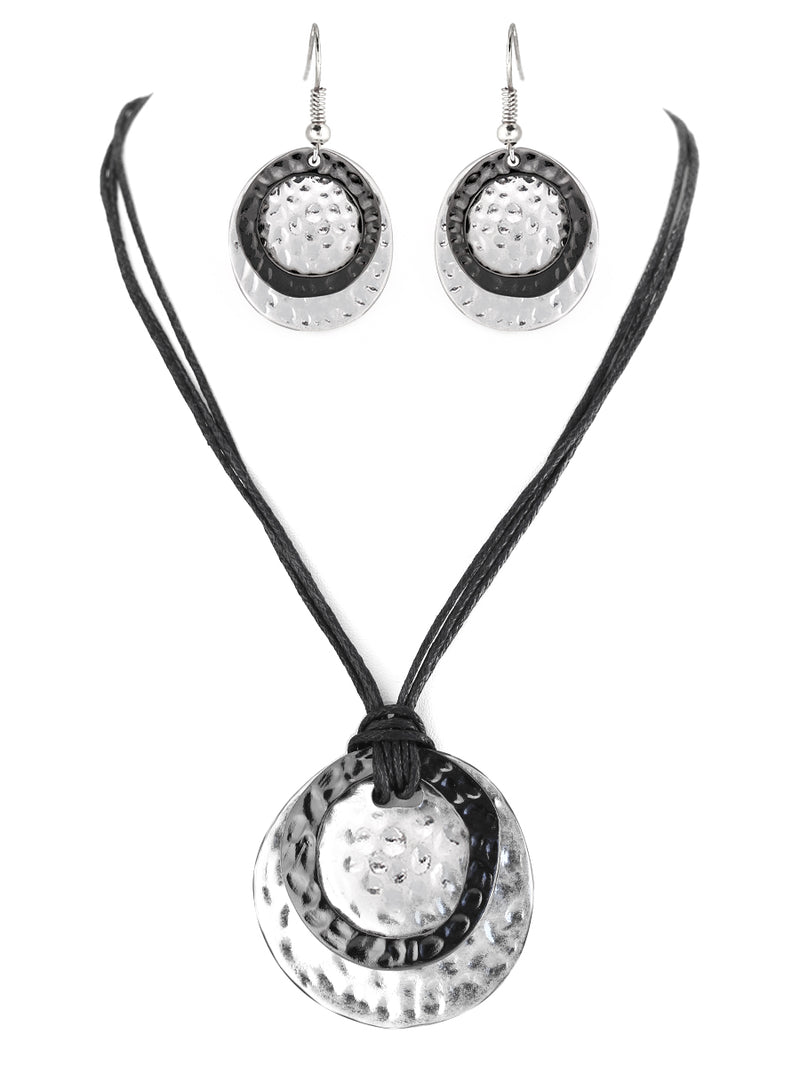 Hematite and Silver Hammered Round Pendant with Cotton Cord Necklace and Earrings Set