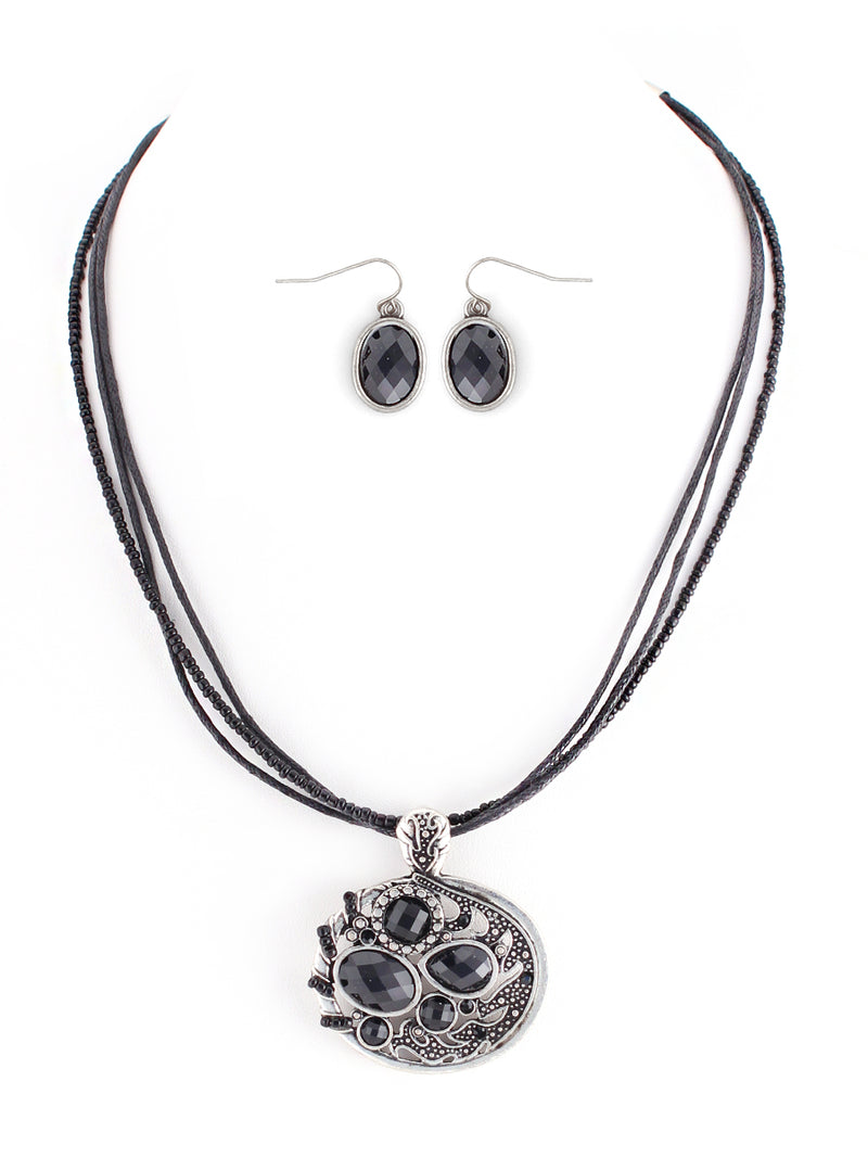 Fabulous Design Jet Stone with Silver Oval Shape Pendant with Waxed Cotton Cord Necklace and Earrings Set
