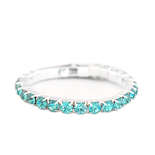 Aqua Glass Crystal Silver Stretch Bracelet