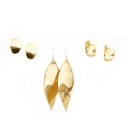 Gold Metal Multi Shape Earrings Set of 3pcs