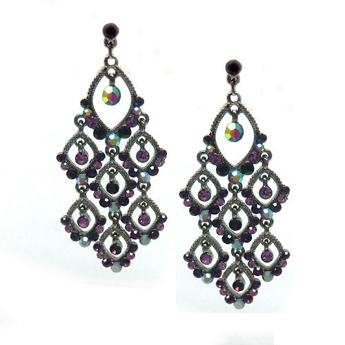 HEMATITE AMETHYST TWINKLE CHANDELIER EARRINGS
