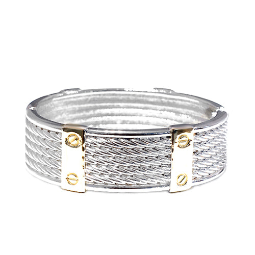 Kont Design Two-Tone Hinged Bracelet