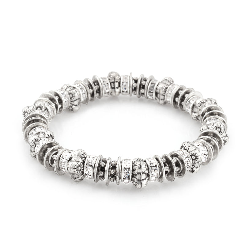 SILVER-TONE METAL CRYSTAL STRETCH BRACELETS