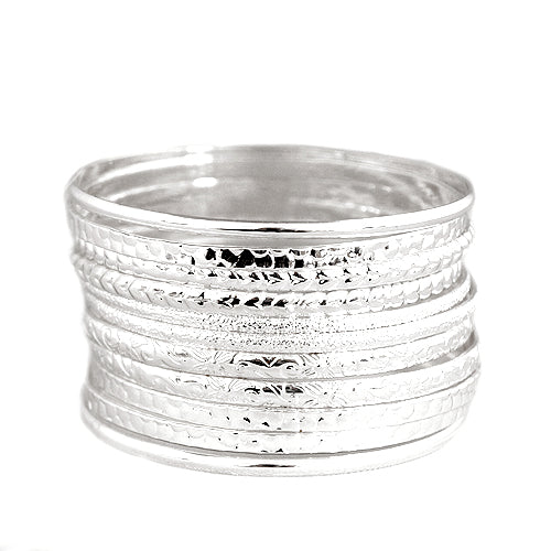 Silver Multi Textured Bangles Set of 11pcs