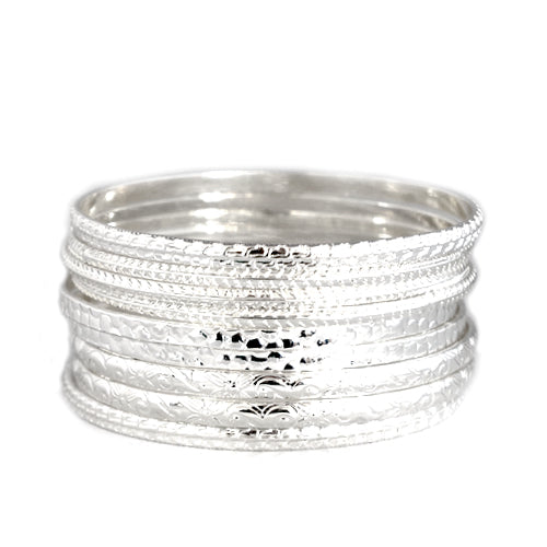 Flower Pattern with Silver Textured Bangles Set of 9pcs