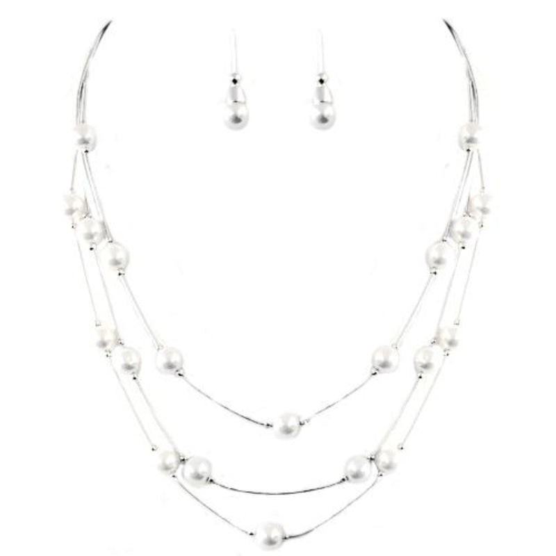 White Glass Pearl with Silver Three-Strand Necklace and Earrings Set