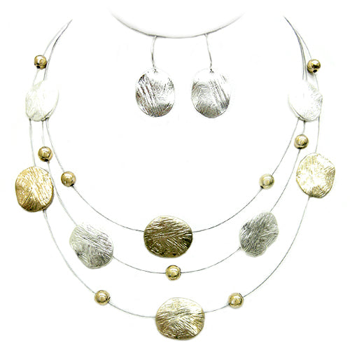 2TONE-SILVER Silver and Gold Brushed Illusion Necklace and Silver Earrings Set