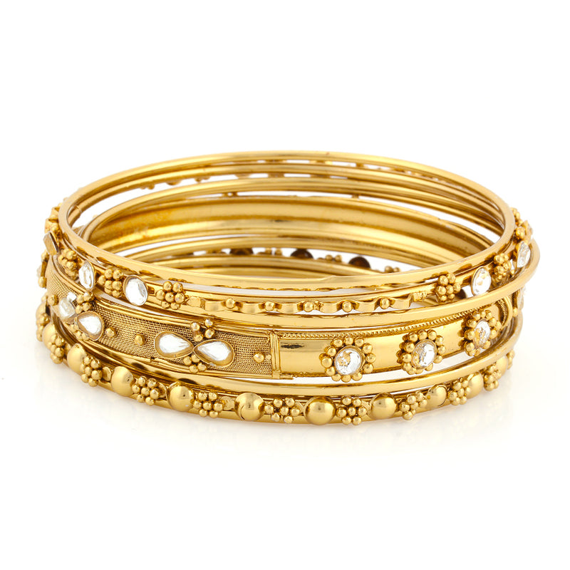 GOLD CRYSTAL SET OF 9 BANGLES