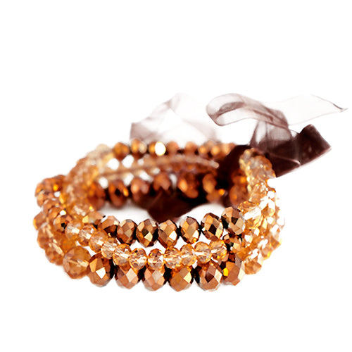 Topaz Mixed Glass Crystal with Brown Bow Stretch Bracelet Set of 3pcs