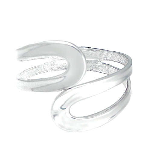 [Plus Size] Silver Double Scroll Hinged Bracelet