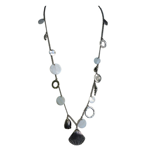 Silver long necklace with silver round hoops