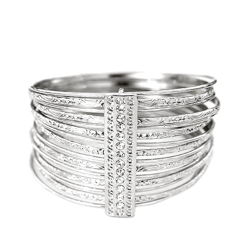 [PLUS SIZE] Luxurious Design Silver Bangles with Rhinestone Set of 15pcs