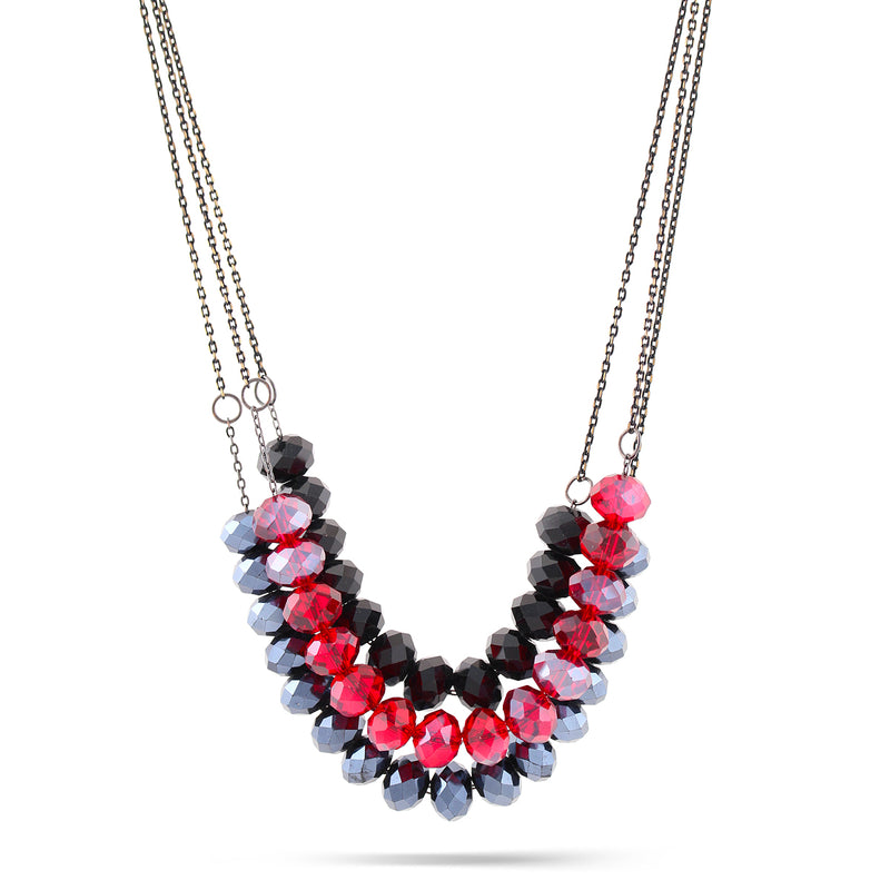 Black And Red Bead 3 Row Necklace
