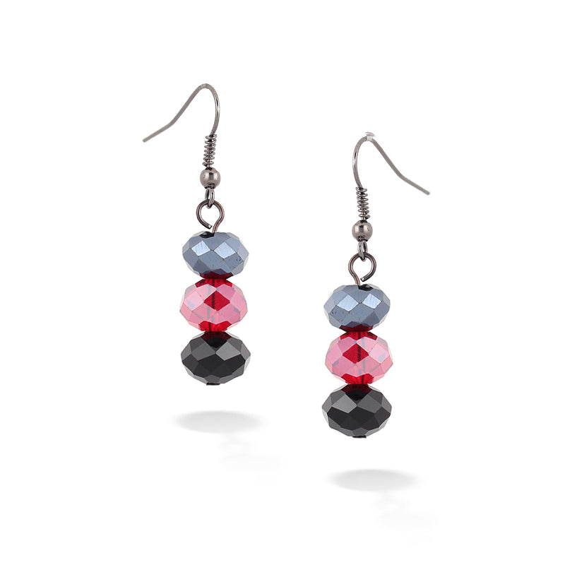 Rhodium -Tone Metal Black And Red Crystal Earrings