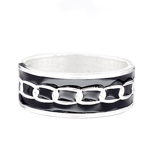 Silver Chain Design Black Enamel Hinged Bracelet