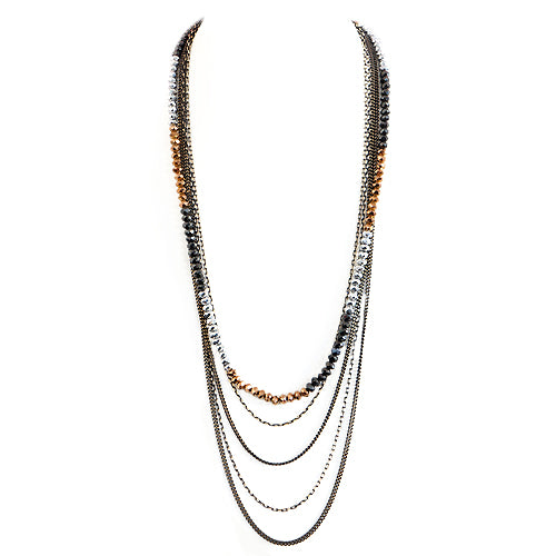 Copper and Silver Mixed Bead Five-Strand Long Necklace