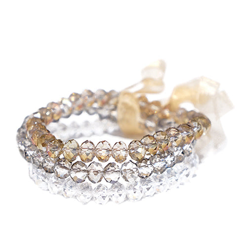 MIXED GLASS CRYSTAL WITH BEIGE BOW STRETCH BRACELET SET OF 3PCS
