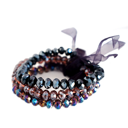 Purple Mixed Glass Crystal with Purple Bow Stretch Bracelet Set of 3pcs