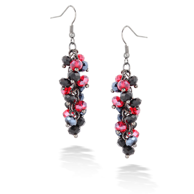 Silver-Tone Metal Red And Hematite Bead Earrings