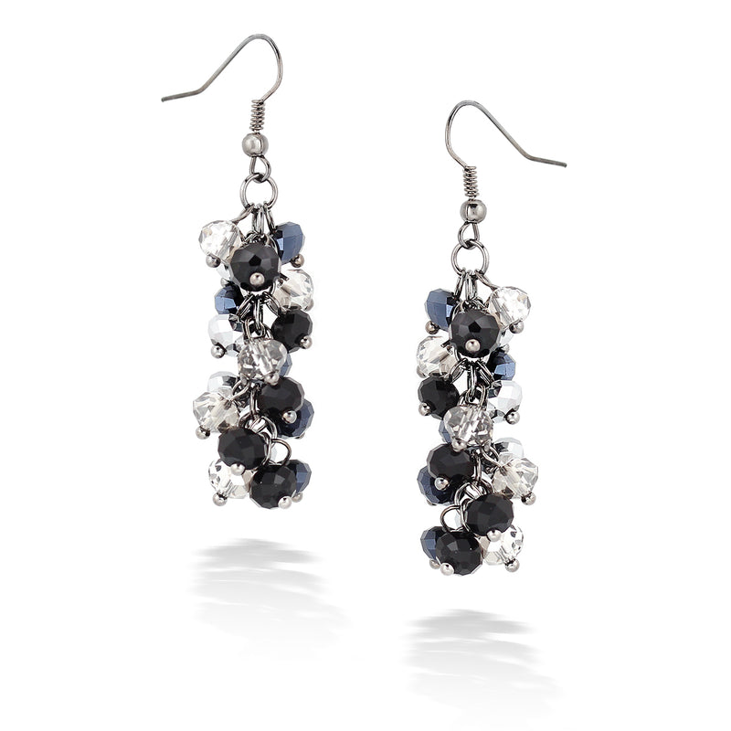Silver-Tone Metal Silver And Black Bead Earrings
