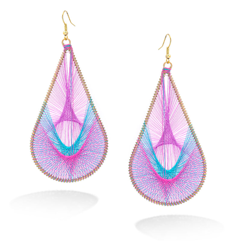 Gold-Tone Purple Turquoise And Pink Thread Treardrop Earrings