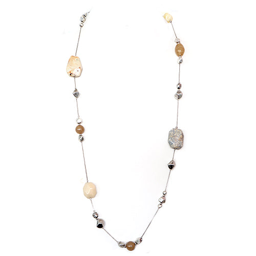 Natural Color Stone and Bead Silver Long Necklace