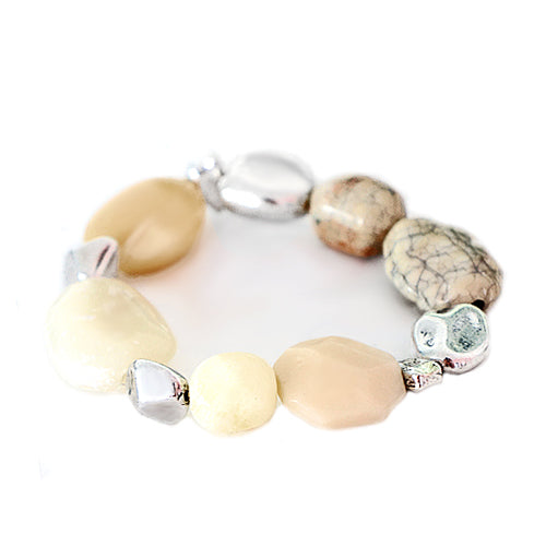 Natural Color Stone with Silver Metal Stretch Bracelet