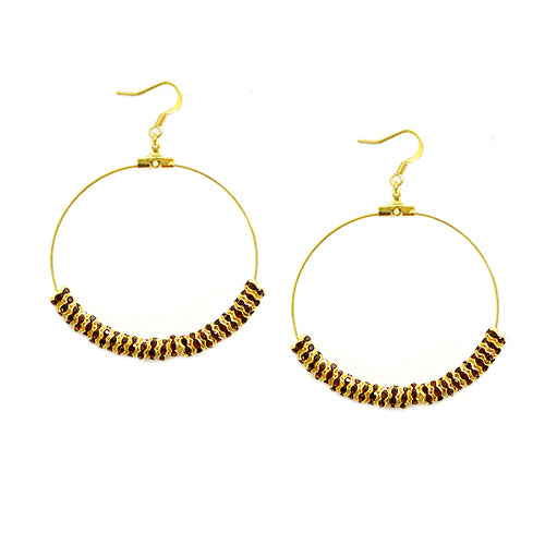 Topaz Glass Crystal 50mm Gold Round Earrings