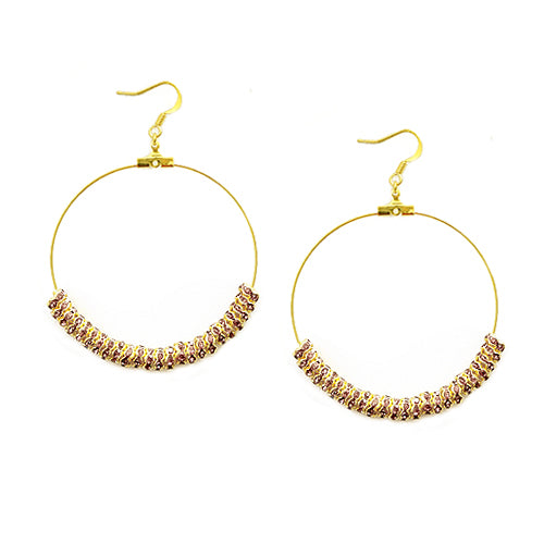 Amy Glass Crystal 50mm Gold Round Earrings
