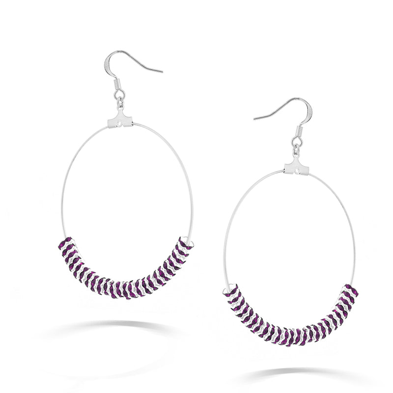 Silver-Tone Amethyst Crystal Earrings