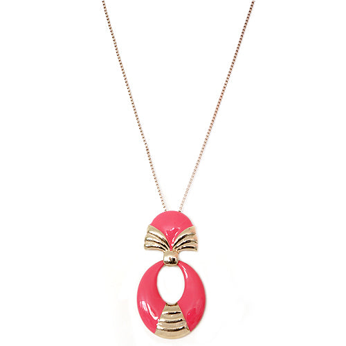 Fuchsia Enamel Oval Shape Gold Long Necklace