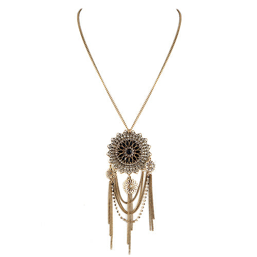 Delicate Flower with Rhinestone Gold Tassel Long Necklace