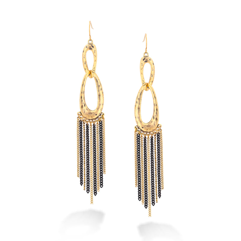 Gold-Tone Metal Black And Gold Chain Earrings