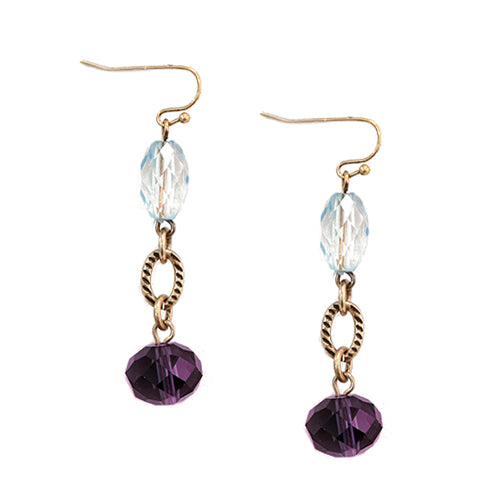 Blue and Purple Beaded Gold Dangle Earrings