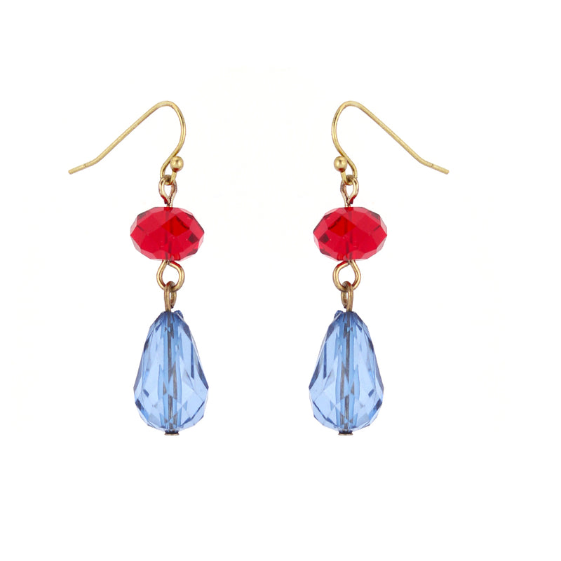Gold-Tone Metal Blue And Red Glass Bead Earrings