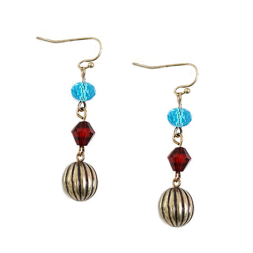 Multi Beaded with Gold Ball Dangling Earrings