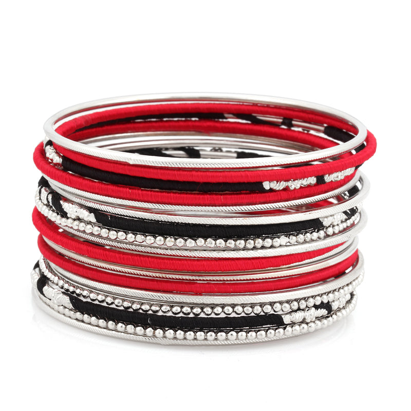 Silver Tone Red And Black Set Of 18 Indian Bangle